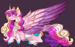 Size: 1214x768 | Tagged: safe, artist:wanderingpegasus, princess cadance, alicorn, pony, cheek fluff, chest fluff, cloven hooves, colored wings, curved horn, ear fluff, feathered fetlocks, female, horn, mare, multicolored wings, purple background, redesign, simple background, smiling, tail feathers, wings