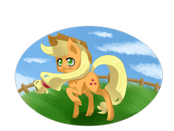 Size: 4000x3000 | Tagged: safe, artist:tomat-in-cup, applejack, earth pony, pony, cloud, fence, hat, outdoors, raised hoof, simple background, solo, transparent background