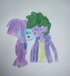 Size: 1577x1693 | Tagged: artist needed, safe, spike, sunny flare, human, equestria girls, blushing, human spike, humanized, kiss on the cheek, kissing, shipping, spikeflare, spikelove, traditional art
