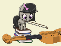Size: 1254x955 | Tagged: safe, artist:ikarooz, octavia melody, earth pony, pony, atg 2020, blank flank, book, bow, bow (instrument), cello, cute, female, filly, filly octavia, grin, hair bow, looking down, mouth hold, musical instrument, newbie artist training grounds, simple background, smiling, smol, solo, tan background, tavibetes, weapons-grade cute, yellow background, younger