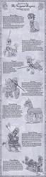 Size: 900x3439 | Tagged: safe, artist:sensko, crystal pony, golem, griffon, unicorn, equestria at war, armor, army roster, axe, ballista (weapon), battle axe, crystal empire, crystal golem, crystal guard armor, crystal pegasus, crystal unicorn, helmet, monochrome, shield, spear, varangian, weapon