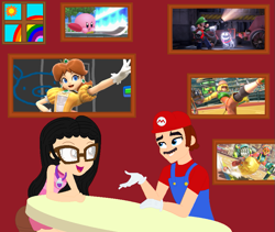 Size: 857x725 | Tagged: safe, artist:everything-sparkle, artist:user15432, oc, oc:aaliyah, human, equestria girls, aaliyah, amulet, arms (video game), barely eqg related, base used, bedroom, cap, chatting, clothes, crossover, equestria girls style, equestria girls-ified, glasses, gloves, hat, jewelry, kirby, kirby (character), lola pop, luigi, luigi's mansion, luigi's mansion 3, mario, mario's hat, min min, necklace, overalls, poltergust g-00, polterpup, princess daisy, rainbow, shirt, short sleeves, skirt, sun, super mario bros., super smash bros., super smash bros. ultimate, talking, tanktop, undershirt, window