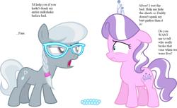 Size: 1280x785 | Tagged: safe, diamond tiara, silver spoon, earth pony, pony, female, filly, glasses, implied bedwetting, implied spanking