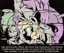 Size: 1800x1498   Tagged: safe, artist:aaronmk, oc, oc:flare, oc:hired gun, oc:platinum haze, oc:serenity (fallout equestria: heroes), oc:silverstorm, earth pony, fallout equestria, fallout equestria: heroes, fanfic art, female, german, hug, hugging a pony, mare, sleeping, text, winghug