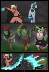 Size: 1600x2358 | Tagged: safe, alternate version, artist:chedx, parrot pirates, comic:the storm kingdom, my little pony: the movie, alternate hairstyle, alternate timeline, alternate universe, comic, fanfic art, fight, pirate, the blackpaw warlocks, the everfreedom fighters