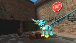 Size: 1280x720 | Tagged: safe, artist:horsesplease, gallus, bird, chicken, griffon, 3d, cannibalism joke, carnivore, chicken meat, cooked, food, fried chicken, gallus the rooster, hen, kfc, male, meat
