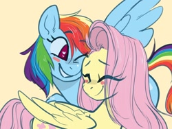 Size: 1280x960 | Tagged: safe, artist:goshhhh, fluttershy, rainbow dash, pegasus, pony, blushing, cute, dashabetes, eyes closed, female, flutterdash, heart eyes, lesbian, mare, one eye closed, shipping, shyabetes, signature, simple background, smiling, snuggling, wingding eyes, yellow background