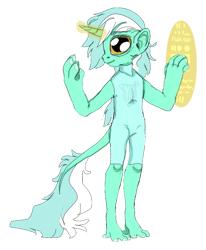 Size: 693x842 | Tagged: safe, artist:unoriginai, lyra heartstrings, alien, anthro, bipedal, hoof hands, simple background, solo, species swap, transparent background
