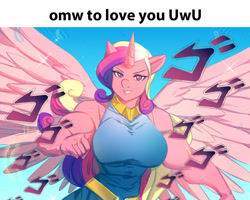 Size: 1135x907   Tagged: safe, artist:bakki, edit, princess cadance, alicorn, anthro, big breasts, breasts, busty princess cadance, female, jojo reference, jojo's bizarre adventure, meme, menacing, muscles, muscular female, princess ca-dense, running, smiling, smiling at you, solo, spread wings, uwu, wings, ゴ ゴ ゴ