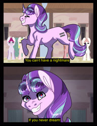 Size: 1713x2230 | Tagged: safe, artist:rainydayjitters, starlight glimmer, pony, unicorn, the cutie map, equal cutie mark, evil grin, grin, scene interpretation, smiling, you can't have a nightmare if you never dream