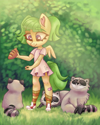 Size: 4000x5000 | Tagged: safe, artist:irinamar, oc, oc only, anthro, pegasus, plantigrade anthro, raccoon, anthro oc, blouse, bread, clothes, converse, cute, feeding, food, grass, outdoors, shoes, socks, watermark