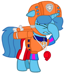 Size: 742x837 | Tagged: safe, artist:徐詩珮, spring rain, pony, unicorn, series:sprglitemplight diary, series:sprglitemplight life jacket days, series:springshadowdrops diary, series:springshadowdrops life jacket days, alternate universe, clothes, cute, lifeguard, lifeguard spring rain, paw patrol, simple background, spring rain is not amused, transparent background, unamused, zuma (paw patrol)