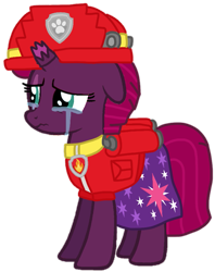 Size: 695x878 | Tagged: safe, artist:徐詩珮, fizzlepop berrytwist, tempest shadow, pony, unicorn, series:sprglitemplight diary, series:sprglitemplight life jacket days, series:springshadowdrops diary, series:springshadowdrops life jacket days, alternate universe, clothes, crying, cute, marshall (paw patrol), paw patrol, simple background, transparent background
