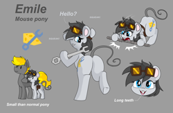 Size: 3676x2396 | Tagged: safe, artist:pencil bolt, oc, oc:emile(mouse pony), oc:pencil bolt, mouse, mouse pony, pegasus, pony, ass up head down, biting, butt, cutie mark, female, goggles, looking at you, male, plot, reference sheet, size difference, solo, wrench