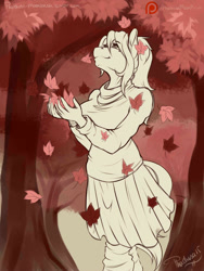 Size: 1500x2000 | Tagged: safe, artist:phathusa, oc, oc only, oc:colette laitier, anthro, earth pony, autumn, beauty mark, breasts, clothes, eyebrows, eyelashes, falling leaves, female, fingers, leaves, outdoors, skirt, solo, sweater