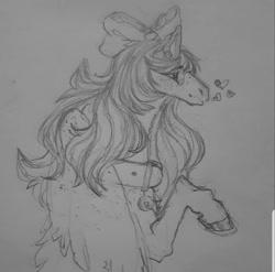 Size: 995x985 | Tagged: safe, artist:im_insanex, oc, oc only, oc:star bunny, pegasus, pony, bow, bust, collar, female, hair bow, heart, hoof polish, lineart, mare, pegasus oc, solo, traditional art, wings