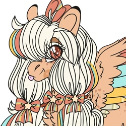 Size: 1080x1080 | Tagged: safe, artist:im_insanex, oc, oc only, oc:star chaser, pegasus, pony, :p, bow, bust, chest fluff, eye clipping through hair, female, glasses, hair bow, heart, mare, pegasus oc, simple background, solo, tongue out, white background, wings