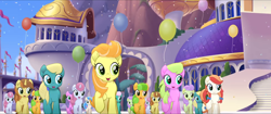 Size: 1920x808 | Tagged: safe, screencap, cantaloupe (character), cornsilk, dawn sunrays, nougat praliné, earth pony, pony, unicorn, my little pony: the movie, background pony, balloon, bow, canterlot, clones, confetti, female, friendship festival, group, hair bow, hairclip, mane bow, marching, mare, raised hoof, singing, unnamed character, unnamed pony, we got this together