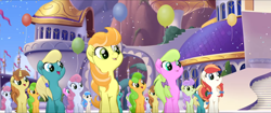 Size: 1920x808 | Tagged: safe, screencap, cantaloupe (character), cornsilk, dawn sunrays, nougat praliné, earth pony, pony, unicorn, my little pony: the movie, background pony, balloon, bow, canterlot, clones, confetti, female, friendship festival, group, hair bow, hairclip, mane bow, marching, mare, singing, unnamed character, unnamed pony, we got this together