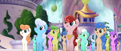 Size: 1920x808   Tagged: safe, screencap, linky, mellow dee, oasis waterfall, riverwalk, shoeshine, sweet strum, toadstool blossom, earth pony, pony, unicorn, my little pony: the movie, background pony, balloon, canterlot, clone, confetti, female, friendship festival, group, male, marching, mare, neckerchief, not amethyst star, singing, stallion, unnamed character, unnamed pony, waterfall, we got this together