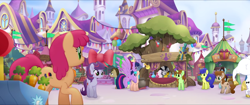 Size: 1920x808 | Tagged: safe, screencap, blueberry curls, bubblegum blossom, bulk biceps, doctor whooves, jungle jazz, rainbow taffy, spike, time turner, twilight sparkle, winter morning, zecora, alicorn, dragon, earth pony, pegasus, pony, unicorn, zebra, my little pony: the movie, background pony, canterlot, dragons riding ponies, eyes closed, female, flying, friendship festival, male, mare, market, raised hoof, riding, spike riding twilight, stallion, twilight sparkle (alicorn), unnamed character, unnamed pony, we got this together