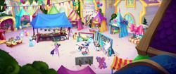 Size: 1920x808 | Tagged: safe, screencap, chocolate apple, cornsilk, dawn sunrays, fuchsia fantasy, glitter glow, nougat praliné, photo finish, princess celestia, sassy saddles, spike, twilight sparkle, alicorn, dragon, earth pony, pegasus, pony, unicorn, my little pony: the movie, background pony, bird's eye view, bow, camera, canterlot, chest, clothes, cutout, dragons riding ponies, dress, female, flying, friendship festival, hair bow, male, mane bow, mare, market, ponyville, queue, quill, raised hoof, riding, spike riding twilight, tripod, twilight sparkle (alicorn), unnamed character, unnamed pony, we got this together