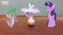 Size: 1280x720 | Tagged: safe, artist:gradiusfanatic, princess flurry heart, spike, twilight sparkle, alicorn, dragon, irl, marble, montage, photo, twilight sparkle (alicorn)