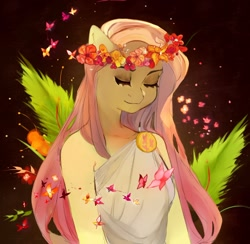 Size: 1280x1247 | Tagged: safe, artist:kalassssssssssssh, fluttershy, anthro, butterfly, pegasus, bust, clothes, cutie mark accessory, eyes closed, female, floral head wreath, flower, greek, mare, peaceful, solo, three quarter view, toga, tunic