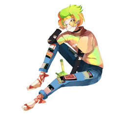 Size: 1395x1303 | Tagged: safe, artist:bad_trip, oc, oc only, oc:marley lennon, human, bong, clothes, ear piercing, earring, eyebrow piercing, feet, female, glasses, headband, hippie, humanized, humanized oc, jeans, jewelry, multicolored hair, necklace, pants, peace symbol, piercing, sandals, shirt, simple background, solo, t-shirt, torn clothes, white background