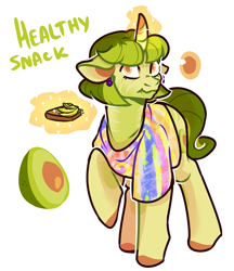 Size: 1201x1392 | Tagged: safe, artist:kaitomy, oc, oc only, oc:healthy snack, pony, unicorn, avocado, bread, ear piercing, earring, eating, female, food, glowing horn, horn, jewelry, levitation, magic, mare, piercing, raised hoof, reference sheet, seed, simple background, solo, telekinesis, toast, white background