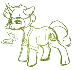 Size: 1933x1880 | Tagged: safe, artist:kaitomy, oc, oc only, oc:healthy snack, pony, unicorn, bread, clothes, female, food, glowing horn, horn, knife, levitation, magic, mare, shirt, simple background, sketch, solo, t-shirt, telekinesis, toast, white background