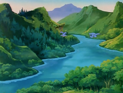 Size: 1200x907 | Tagged: safe, screencap, bird, my little pony 'n friends, the ghost of paradise estate, dream valley, forest, g1, mountain, river, scenery, tree