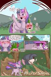 Size: 960x1440 | Tagged: safe, alternate version, artist:cold-blooded-twilight, spike, twilight sparkle, unicorn, cold blooded twilight, comic:cold storm, barn, blushing, blushing profusely, bush, cape, chubby, chubby twilight, clothes, comic, dialogue, dizzy eyes, drool, dust, eyes closed, flower, force field, frog (hoof), hill, implied gay, kiss mark, licking, licking lips, lipstick, open mouth, sparkles, speech bubble, stare, sweet apple acres, tongue out, tree, underhoof, unicorn twilight, waving, wind, windswept mane