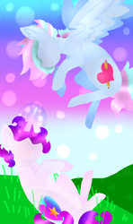 Size: 1260x2133 | Tagged: safe, artist:shinningblossom12, oc, oc only, oc:anasflow maggy, oc:shining blossom, pegasus, pony, unicorn, duo, flying, glowing horn, grass, horn, multicolored hair, outdoors, pegasus oc, rainbow hair, sitting, unicorn oc, wings