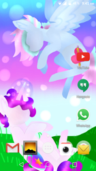 Size: 720x1280 | Tagged: safe, alternate version, artist:shinningblossom12, oc, oc only, oc:anasflow maggy, oc:shining blossom, pegasus, pony, unicorn, duo, flying, glowing horn, grass, horn, multicolored hair, outdoors, pegasus oc, rainbow hair, sitting, unicorn oc, wings