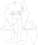Size: 5426x6409 | Tagged: safe, artist:skylarpalette, oc, oc only, oc:swift, pegasus, big ears, crying, fluffy, male, pegasus wings, pegaus oc, sad, simple background, sitting, sketch, spread wings, stallion, transparent background, wings