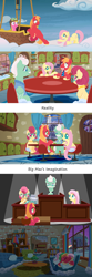 Size: 1920x5801 | Tagged: safe, anonymous artist, big macintosh, cherry berry, fluttershy, gentle breeze, posey shy, earth pony, pegasus, pony, series:fm holidays, blanket, cloud, comic, couch, courtroom, dramatic lighting, father's day, female, fluttermac, grin, holding hooves, hot air balloon, hug, imagination, judge, lineless, living room, male, mare, necktie, nervous, nervous grin, nervous smile, night, no pupils, pillow, shipping, shys, sitting, sleeping, smiling, spotlight, stallion, straight, sweat, sweatdrop, trial, typewriter, underhoof, wavy mouth