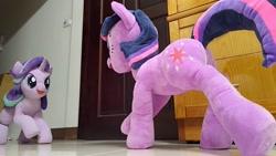 Size: 2048x1152 | Tagged: safe, artist:nekokevin, starlight glimmer, twilight sparkle, pony, unicorn, series:nekokevin's glimmy, duo, female, irl, jojo's bizarre adventure, looking at each other, low angle, mare, open mouth, photo, plushie, raised hoof, raised leg, smiling, underhoof, unicorn twilight