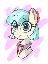 Size: 2050x2700 | Tagged: safe, artist:zzzsleepy, coco pommel, blue eyes, bust, colored, concerned, ear fluff, female, heart, looking at you, simple background, solo, unsure, worried