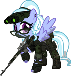 Size: 5000x5321 | Tagged: safe, artist:n0kkun, sugarcoat, pegasus, pony, belt, boots, camouflage, clothes, commission, dirt, dragunov, ear piercing, earring, equestria girls ponified, eyeshadow, female, fingerless gloves, glasses, gloves, goggles, gun, hairband, holster, jewelry, karambit, knife, makeup, mare, mercenary, mud, night vision goggles, pants, piercing, ponified, pouch, radio, raised hoof, rifle, shoes, simple background, sniper rifle, solo, transparent background, walkie talkie, weapon