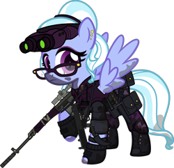 Size: 6000x5792 | Tagged: safe, alternate version, artist:n0kkun, sugarcoat, pegasus, pony, belt, boots, camouflage, clothes, commission, dirt, dragunov, ear piercing, earring, equestria girls ponified, eyeshadow, female, fingerless gloves, glasses, gloves, goggles, gun, hairband, holster, jewelry, karambit, knife, makeup, mare, mercenary, mp5, mud, night vision goggles, pants, piercing, ponified, pouch, radio, raised hoof, rifle, shoes, simple background, sniper rifle, solo, submachinegun, transparent background, walkie talkie, weapon
