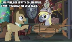 Size: 865x500 | Tagged: safe, artist:thor-disciple, edit, edited screencap, screencap, derpy hooves, doctor whooves, time turner, earth pony, pegasus, pony, slice of life (episode), hawkwind, heavy metal, singing, song, song reference