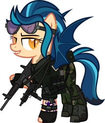 Size: 5000x5842 | Tagged: safe, artist:n0kkun, indigo zap, bat pony, pony, aa-12, bat ponified, belt, boots, camouflage, clothes, commission, dirt, ear piercing, earring, equestria girls ponified, fangs, female, fingerless gloves, gloves, goggles, grin, gun, jacket, jewelry, mac-10, mare, mercenary, mud, pants, piercing, ponified, pouch, race swap, shoes, shotgun, simple background, smiling, solo, submachinegun, tattoo, transparent background, uzi, vest, watch, weapon, wristwatch