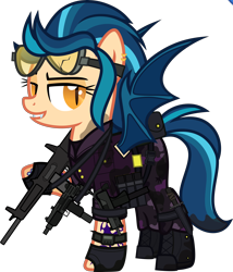 Size: 5000x5842 | Tagged: safe, alternate version, artist:n0kkun, indigo zap, bat pony, pony, aa-12, bat ponified, belt, boots, camouflage, clothes, commission, dirt, ear piercing, earring, equestria girls ponified, fangs, female, fingerless gloves, gloves, goggles, grin, gun, jacket, jewelry, mac-10, mare, mercenary, mud, pants, piercing, ponified, pouch, race swap, shoes, shotgun, simple background, smiling, solo, submachinegun, tattoo, transparent background, uzi, vest, watch, weapon, wristwatch