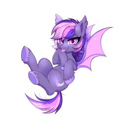 Size: 1276x1296 | Tagged: safe, artist:ravensunart, oc, oc:midnight mist, bat pony, :p, cute, cute little fangs, ear fluff, fangs, female, flying, mare, solo, tongue out, underhoof, unshorn fetlocks