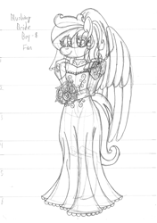 Size: 2550x3620 | Tagged: safe, artist:supra80, oc, oc:cold front, anthro, pegasus, black and white, bouquet, bridal veil, clothes, crossdressing, dress, femboy, flower, grayscale, male, monochrome, rose, sketch, traditional art, wedding dress, wings