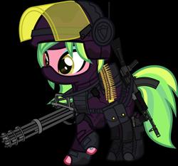 Size: 6000x5626 | Tagged: safe, alternate version, artist:n0kkun, lemon zest, earth pony, pony, ak-12, armor, assault rifle, balaclava, bandolier, belt, boots, bullet, clothes, dirt, equestria girls ponified, eyeshadow, female, fingerless gloves, gloves, gun, handgun, headphones, helmet, knee pads, makeup, mare, mask, minigun, mud, pants, pistol, ponified, pouch, raised hoof, raised leg, rifle, shirt, shoes, simple background, solo, tattoo, transparent background, visor, weapon