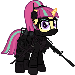 Size: 6000x5999 | Tagged: safe, artist:n0kkun, sour sweet, pony, unicorn, armor, assault rifle, belt, body armor, boots, clothes, commission, disguise, disguised changeling, ear piercing, earring, equestria girls ponified, eyeshadow, female, freckles, gloves, gun, handgun, headset, jacket, jewelry, katana, m4a1, makeup, mare, mask, mercenary, ninja, pants, piercing, pistol, ponified, pouch, rifle, shoes, simple background, smiling, smirk, solo, submachinegun, sword, transparent background, ump45, weapon