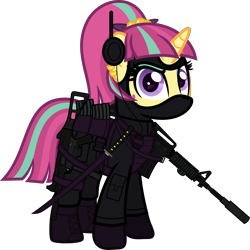 Size: 6000x5999 | Tagged: safe, alternate version, artist:n0kkun, sour sweet, pony, unicorn, armor, assault rifle, belt, body armor, boots, clothes, commission, disguise, disguised changeling, ear piercing, earring, equestria girls ponified, eyeshadow, female, freckles, gloves, gun, handgun, headset, jacket, jewelry, katana, m4a1, makeup, mare, mask, mercenary, ninja, pants, piercing, pistol, ponified, pouch, rifle, shoes, simple background, smiling, smirk, solo, submachinegun, sword, transparent background, ump45, weapon