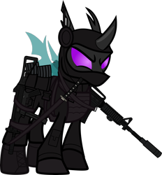 Size: 6000x6458 | Tagged: safe, alternate version, artist:n0kkun, sour sweet, changeling, armor, assault rifle, belt, body armor, boots, changelingified, clothes, commission, disguise, equestria girls ponified, female, freckles, gloves, gun, handgun, headset, jacket, katana, looking forward, m4a1, mare, mask, mercenary, ninja, pants, piercing, pistol, ponified, pouch, rifle, shoes, simple background, smiling, smirk, solo, species swap, submachinegun, sword, transparent background, ump45, weapon